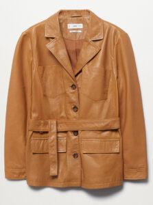 fashion2 mango plus belt leather jacket