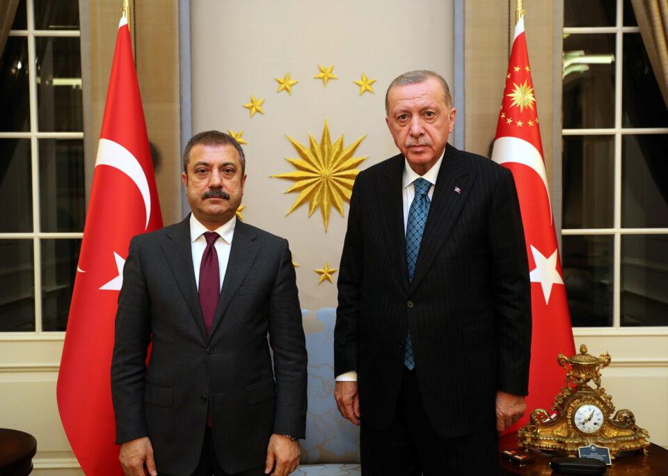 turkish president erdogan meets with central bank governor kavcioglu in ankara