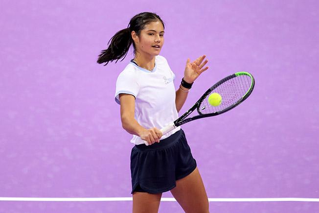 british tennis player emma raducanu trains during the wta transylvania open tennis tournament