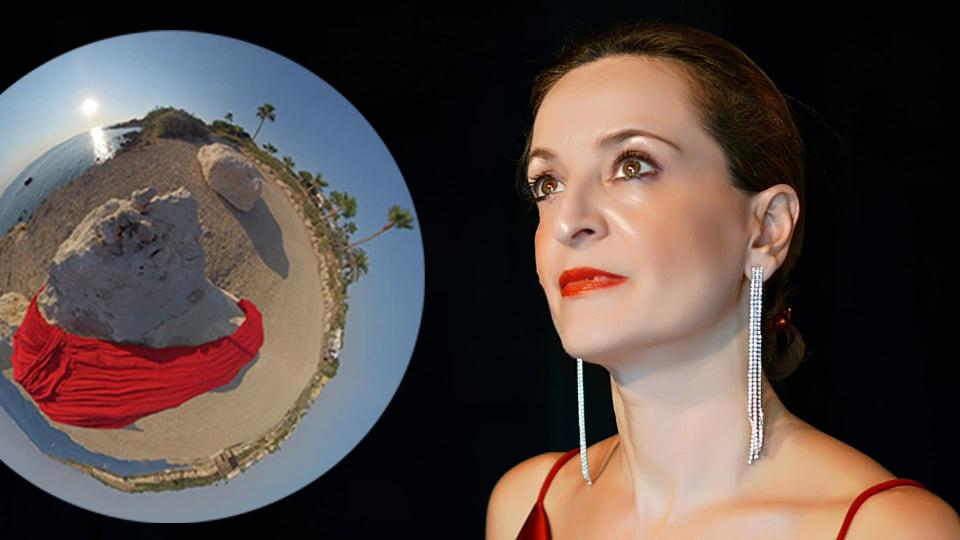 maria christoforou women's stories photo red dress press photo