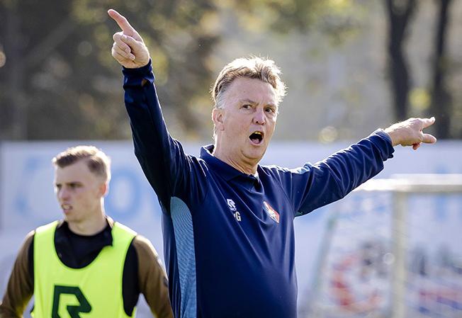 coach of the dutch national team louis van gaal at telstar's training
